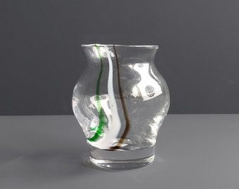 Royal Leerdam vase with swirls in Green, white and brown, originally labeled.