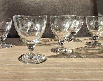 Shot glass, liqueur glass set of six on stem.