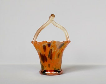 Art Deco glass basket in iridescent glass, Tomeco Slovaquie.