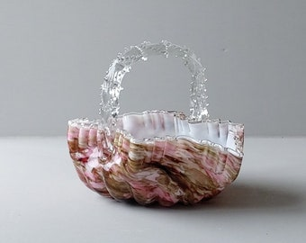 Stevens and Williams glass, Victorian basket enclosed with clear glass.
