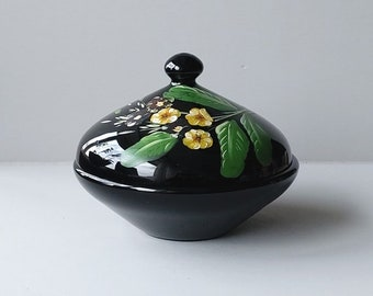 Bonbonnière, candy bowl hand painted lid with violins, black Boom glass Belgium.