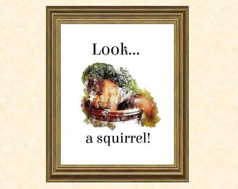 Squirrel Art Print, Instant Download, Printable Digital Art, Look a Squirrel, Fun Gift for All Ages, Abstract Watercolor Wall Art, JPG File