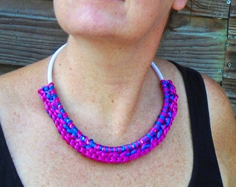 Crochet Necklace, Pink Blue Necklace, Bold Necklace, Pink Bib Necklace, Crochet Jewelry, Fiber Necklace, Satin Cording, Fabric Jewelry