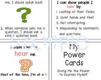 Autism Special Needs Power Cards Anger Management, Social Making Friends
