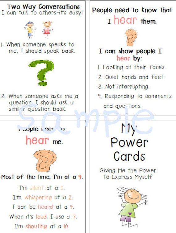 autism special needs power cards anger management social