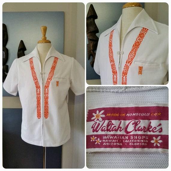Vintage 1960s 60s Orange Hawaiian Aloha shirt // W