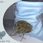 Hay sack bag rack for chinchilla or guinea pig or bunny rabbit, fleece scrap holder for rats nesting material for rodents pet accessories