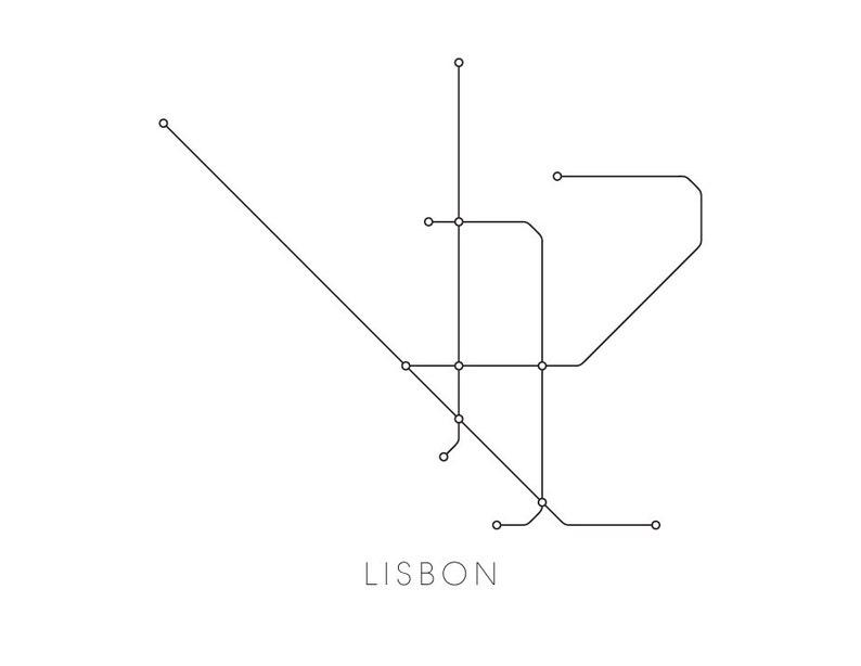 Subway Map Of Lisbon.Lisbon Subway Map Print Lisbon Metro Map Poster