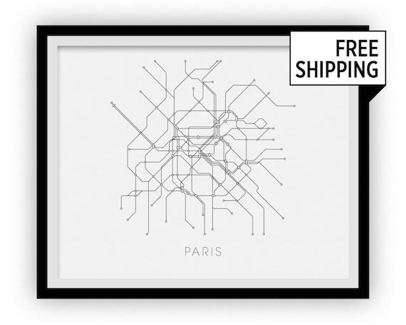 Paris Subway Map Print Paris Metro Map Poster Etsy - Paris metro map print