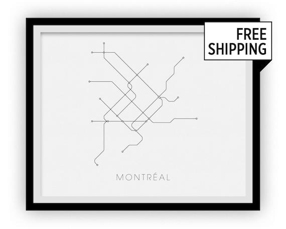Subway Map Montreal.Montreal Subway Map Print Montreal Metro Map Poster Etsy