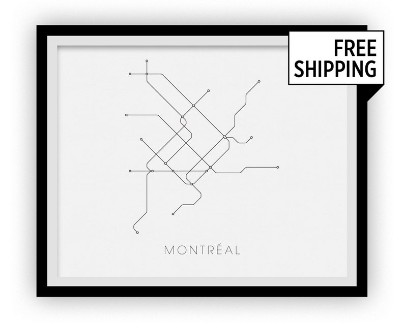 Montrrsl Subway Map.Montreal Subway Map Print Montreal Metro Map Poster