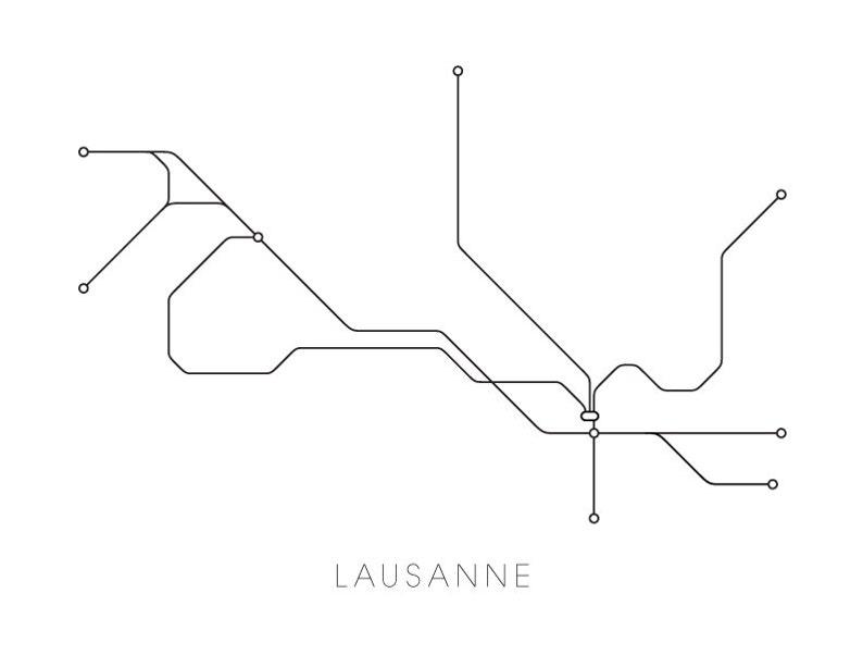 Lausanne Subway Map Print Lausanne Metro Map Poster | Etsy