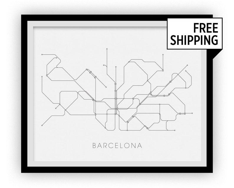 Subway Map Of Barcelona.Barcelona Subway Map Print Barcelona Metro Map Poster