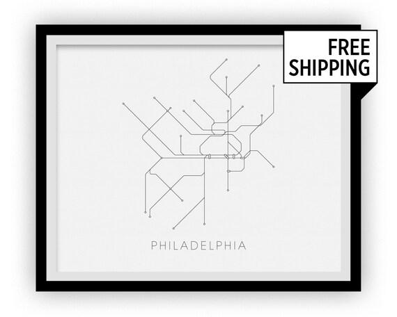 Phila Subway Map.Philadelphia Subway Map Print Philadelphia Metro Map Poster Etsy