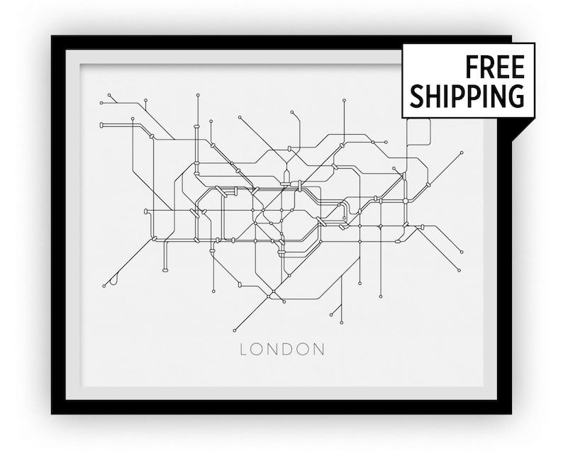 London England Transit Map.London Subway Map Print London Metro Map Poster