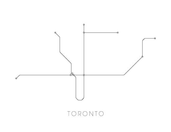 Subway Map Of Toronto.Toronto Subway Map Print Toronto Metro Map Poster Etsy