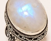 925 Silver Large Moonstone Floral Women Ring size 8