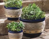 Jade or Cobalt Planter Trio