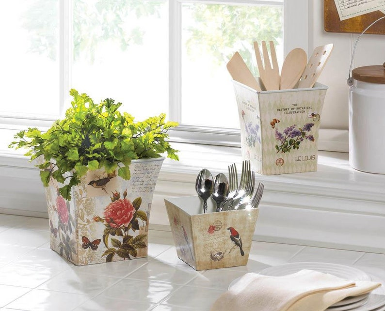 Botanical Floral Garden Planter Trio