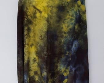 Hand Dyed Rayon Infinity Scarf in Yellow & Black