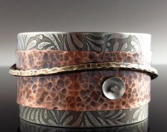 Metal Cuff Bracelet in Nickel Silver, Copper, Bronze and Sterling Silver