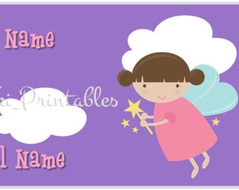 Fairy Back to school name labels stickers Instant Download Printable  / Etiquetas escolares para regreso a clases Hadas