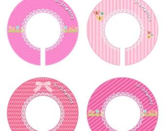 Closet Dividers Baby Organizer Girl Baby Shower Gift Nursery Room Decor Kids Hanger Rack Infant Round Doily Blonda Pink