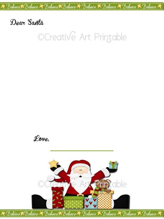 Instant Download Printable Christmas Santa Letter Kids Dear