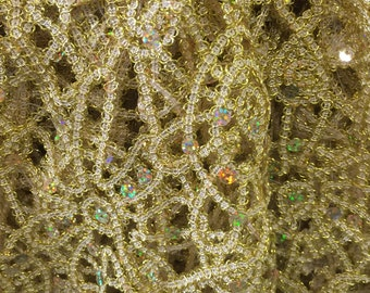 2 Yards Gold Web Weave Sequin Lace,56""