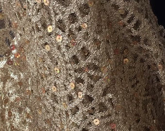 Light Gold Web Weave Sequin Lace,56""