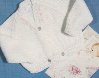 98de9423f7e2b vintage knitting pattern PDF for lovely crossover baby cardigan size 0-3m