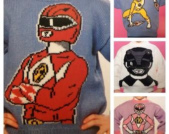 Power Rangers Christmas Jumper.Teenage Mutant Ninja Turtles Knitting Pattern Child To Adult