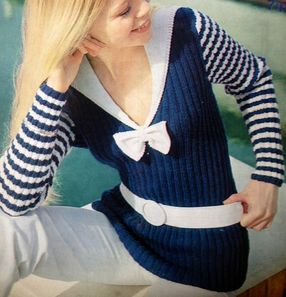 7fa9d0a9041db vintage knitting pattern PDF for ladies nautical sailor jumper