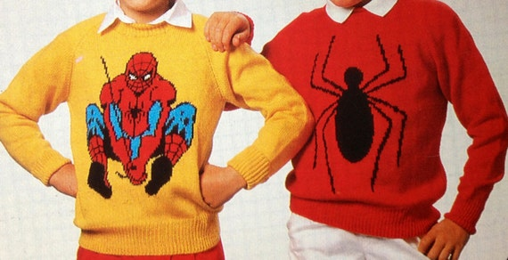 Spiderman Knitting Pattern Sweaters For Children And Adults Dk Etsy