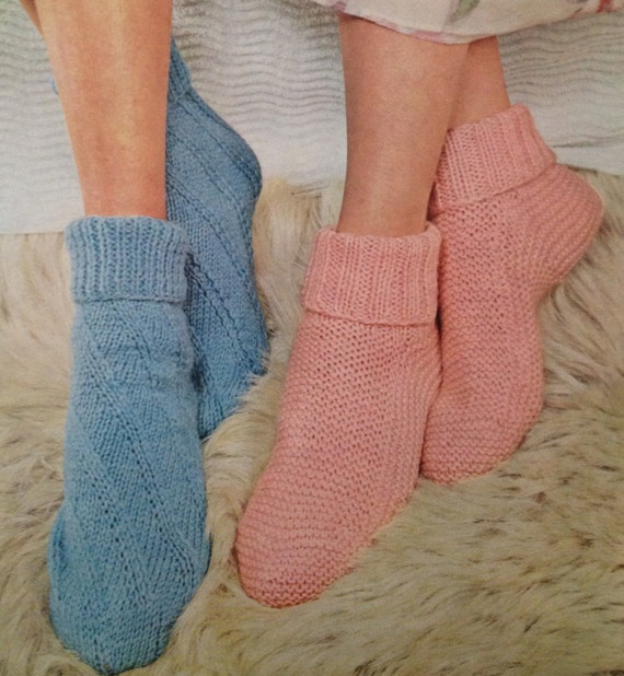 Vintage Knitting Pattern For Ladies Bed Socks In Double Knit Etsy