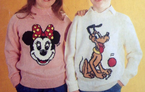Mickey And Minnie Mouse Knitting Pattern Sweaters For Children And