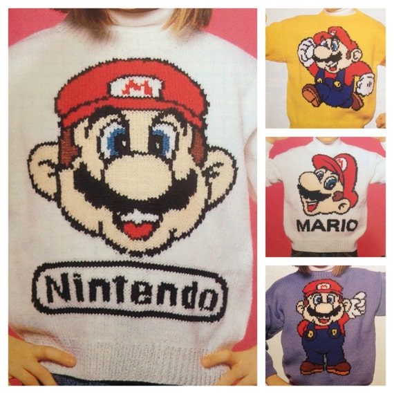 Super Mario Knitting Pattern Sweaters For Children And Adults Etsy