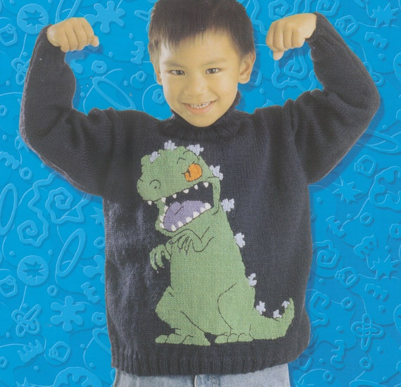 8c4a6b9a3af2 dinosaur jumper knitting pattern PDF vintage instarsia chart