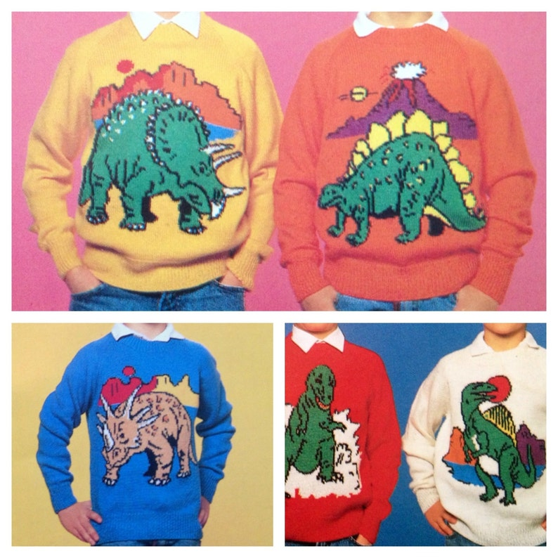 Dinosaur Jumper Knitting Pattern Sweaters For Children And Etsy