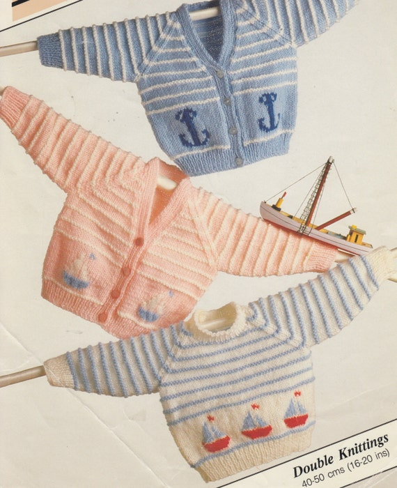 Vintage Knitting Pattern For Dk Baby Cardigans And Jumper Etsy