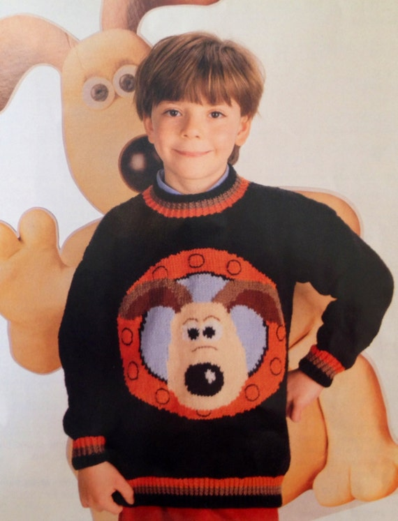 Wallace And Gromit Knitting Pattern Childs Jumper 26 36 Inch Etsy