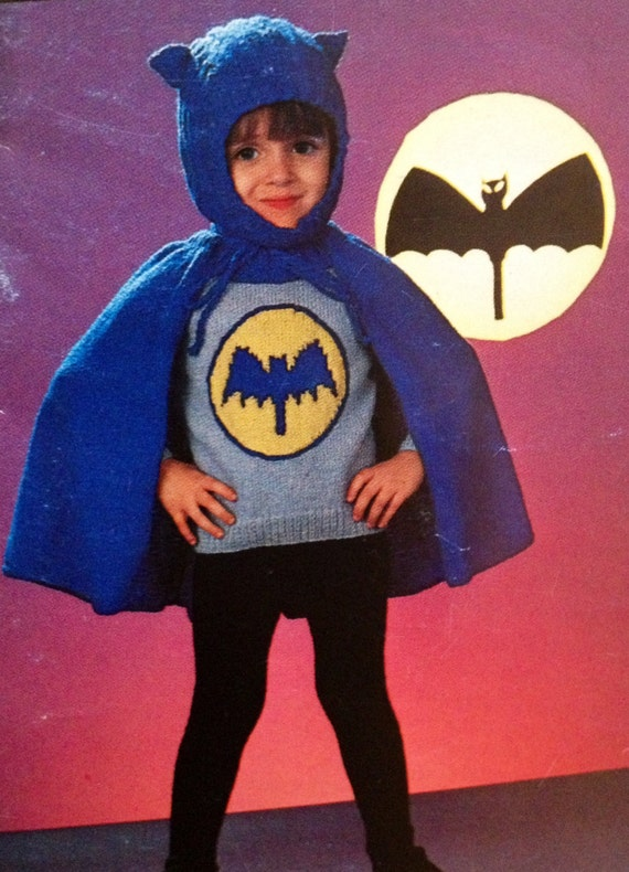 Batman Knitting Pattern Cape And Sweater Childrens Sizes 22 To