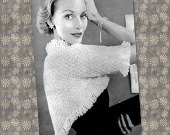 PDF vintage knitting pattern womens glamorous fringed shrug 1950s wrap bolero cardigan