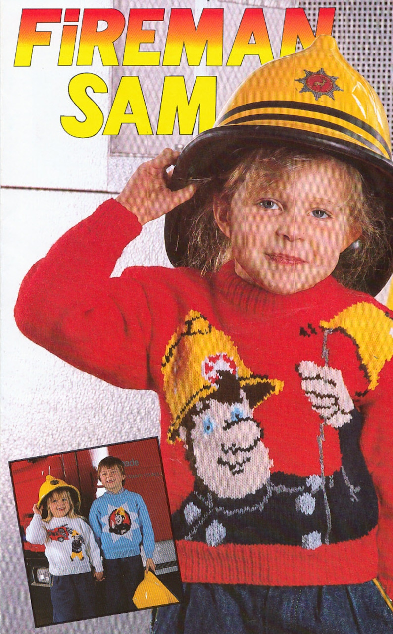 Fireman Sam Vintage Knitting Patterns For Childrens Character Etsy