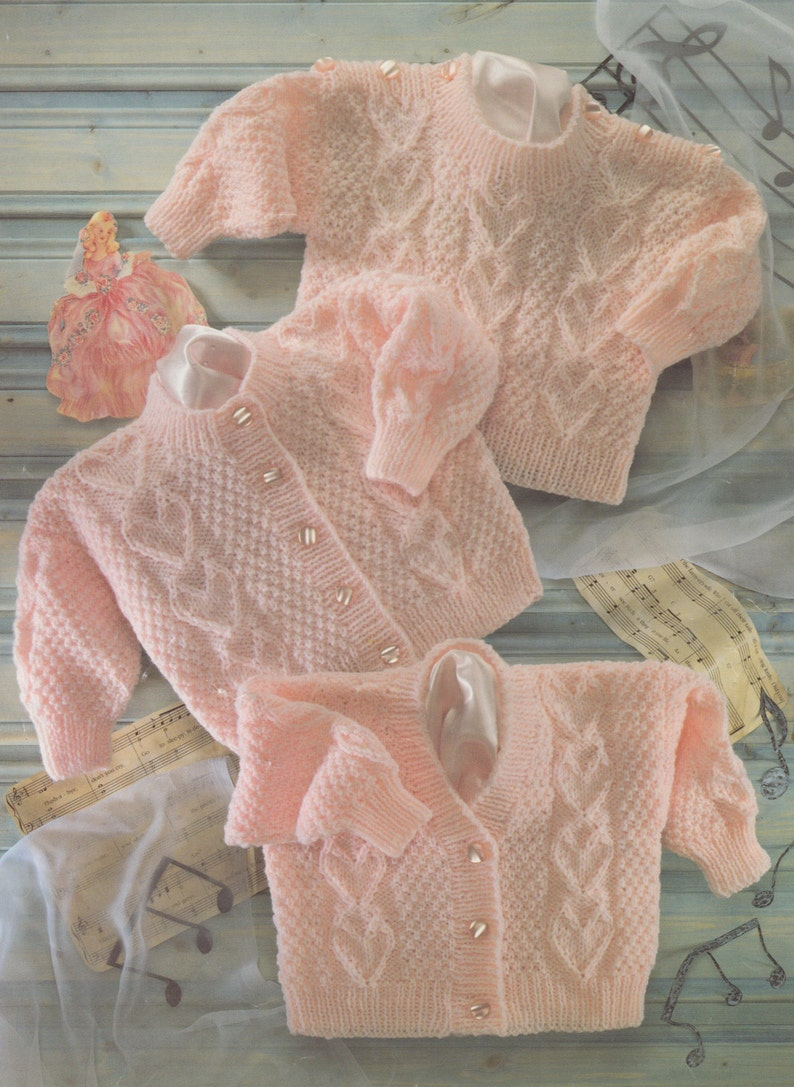 1a5bd809083d2 PDF knitting pattern for dk cardigans and jumper baby to