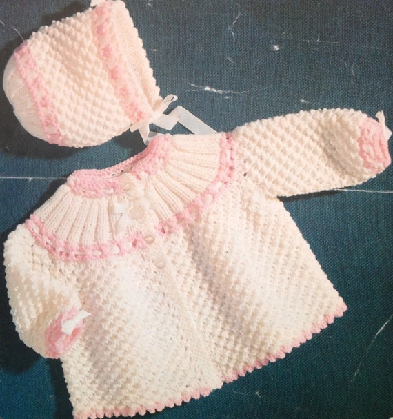Vintage Baby Knitting Pattern For Dk Double Knit Matinee Coat Etsy