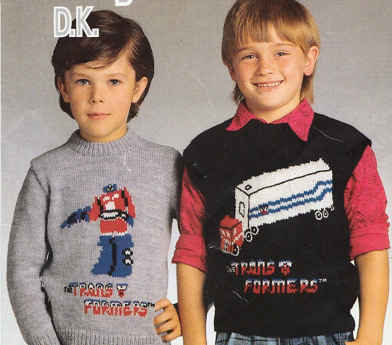 Transformers Vintage Knitting Patterns For Childrens Character Etsy