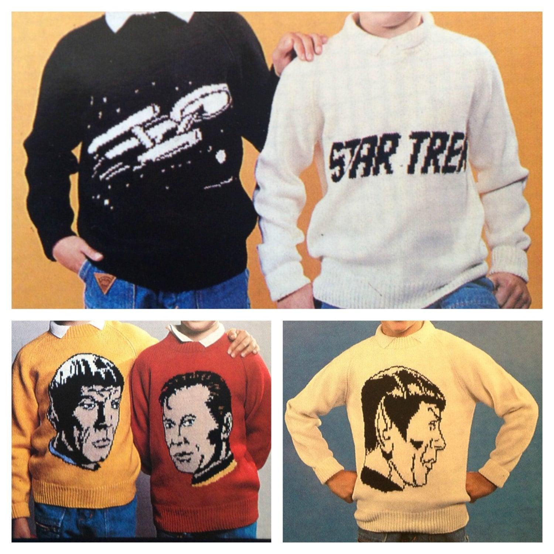PDF vintage knitting pattern star trek sweaters in dk or 4 ply yarn ...