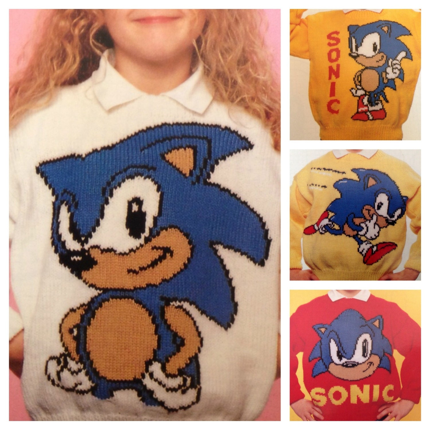 Sonic the Hedgehog knitting pattern sweaters for children and
