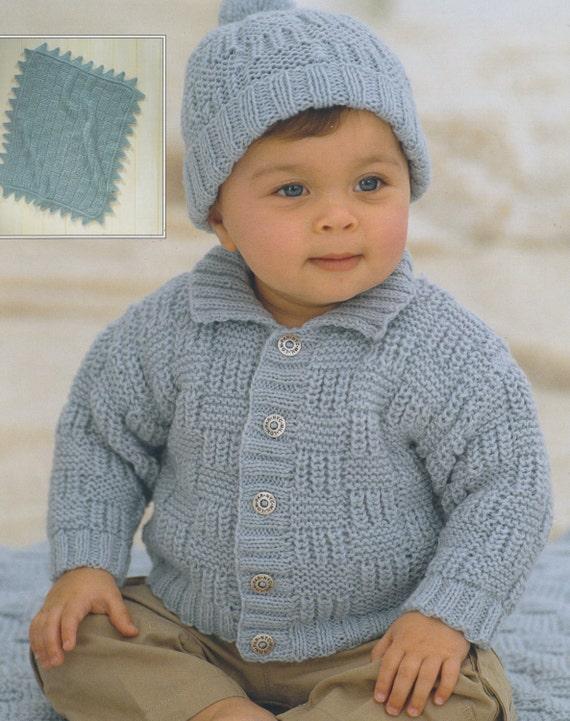 21-23 Inch Chest. Mitts /& Hat Knitting Pattern Toddler//Children/'s Aran Jacket